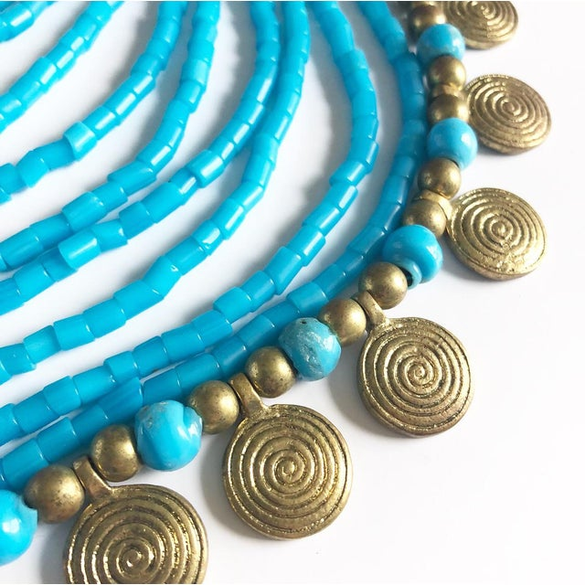 Boho Chic Vintage Beaded Turquoise Style Necklace With Faux Gold Metal Coins For Sale - Image 3 of 11