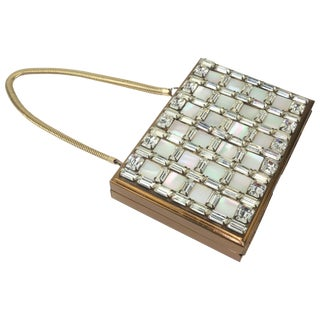 1950's Wiesner of Miami Rhinestone and Mother-Of-Pearl Compact Handbag For Sale