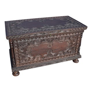 Hand-Carved Oak Coffer With Floral Motif For Sale