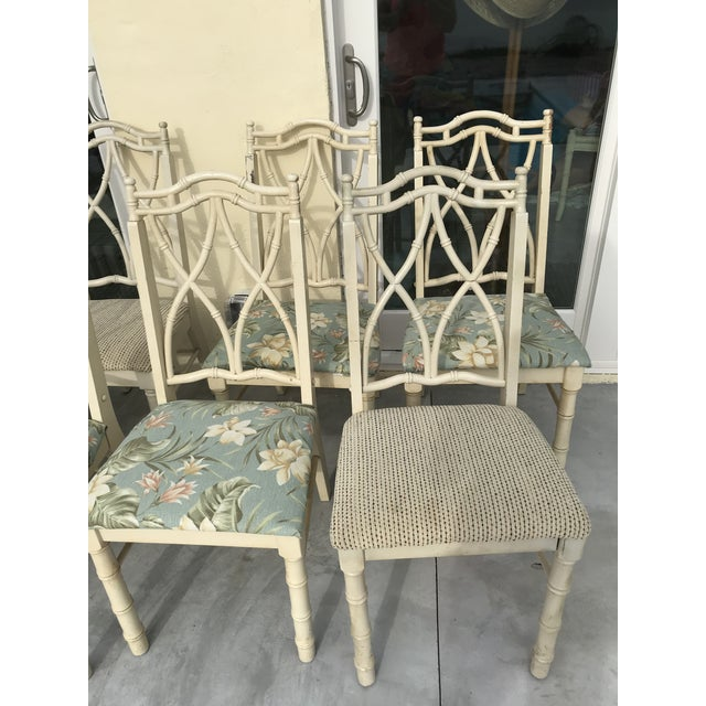 White Vintage Thomasville Faux Bamboo Chinoiserie Hollywood Regency Chairs - Set of 10 For Sale - Image 8 of 11