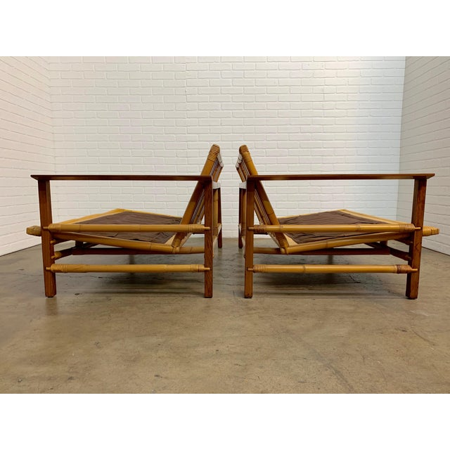 Vintage Ficks Reed Walnut With Rattan Sectional Sofas - A Pair For Sale In Los Angeles - Image 6 of 12