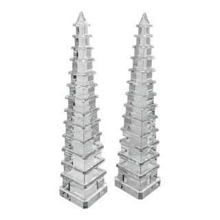 Asian Antique Crystal Pagoda Obelisks - a Pair