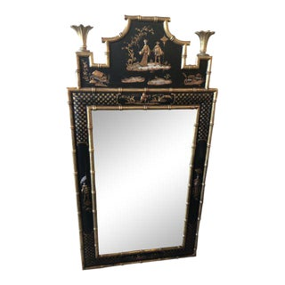 Vintage Faux Bamboo Pagoda Chinoiserie Wall Mirror For Sale