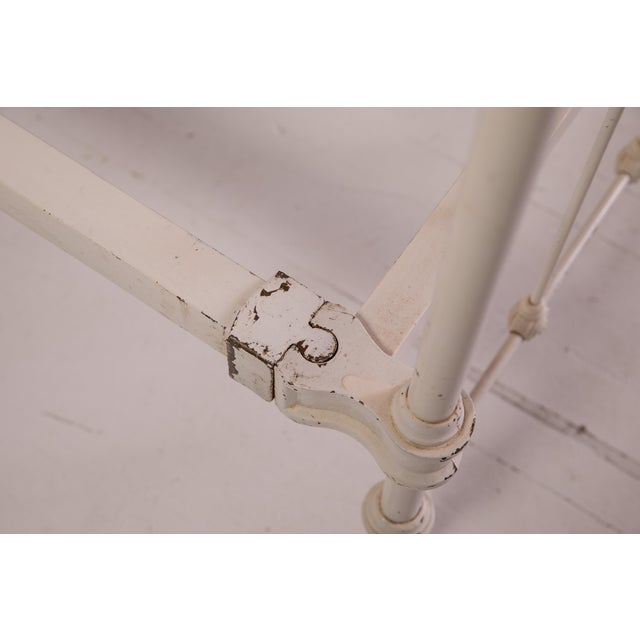 1910s Shabby Chic White Iron Victorian Bedframe For Sale - Image 10 of 12