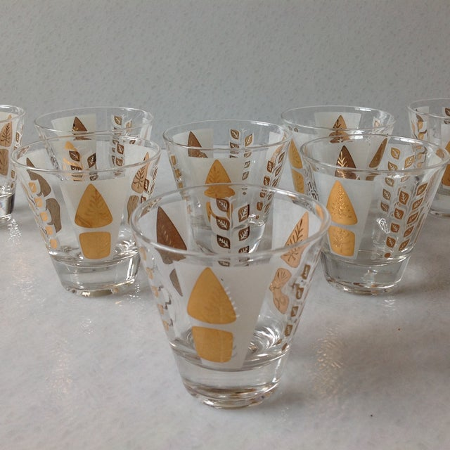 Fred Press Mid-Century Gold Tree Shot Glasses- S/8 - Image 3 of 11