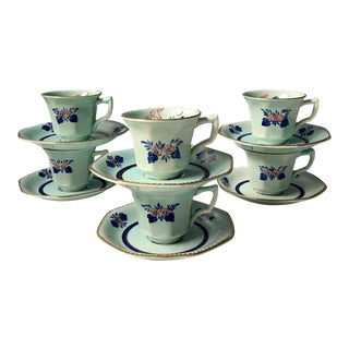 Adams Calyx Ware Georgian Demitasse Cups & Saucers, 1970s - Servings of 6