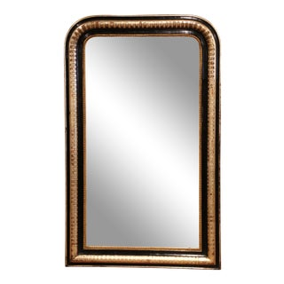 19th Century Louis Philippe Giltwood and Blackened Mirror With Engraved Decor For Sale