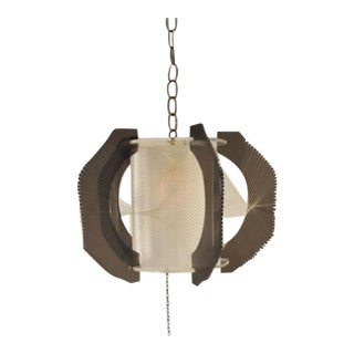 1970's Vintage Lucite Pendant Lamp With Geometric String Detail For Sale