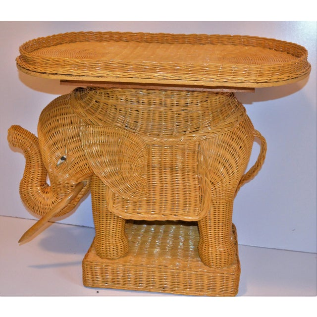 Brown Boho Chic Wicker Rattan Elephant Tray Table (Final Markdown Taken) For Sale - Image 8 of 13