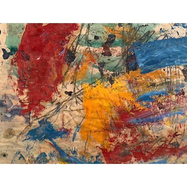 Taro Yamamoto Abstract Composition in Blue, Red Orange Painting For Sale