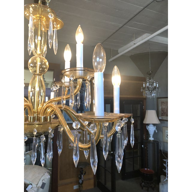 1950s 1950s Mid-Century Modern Amber Murano Glass Two Tier 12 Light Chandelier For Sale - Image 5 of 13