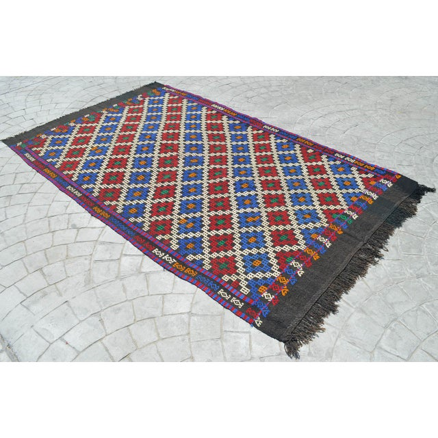 """Hand-Woven Rug Kilim Braided Nomadic Rug - 5' X 8'4"""" For Sale - Image 4 of 12"""