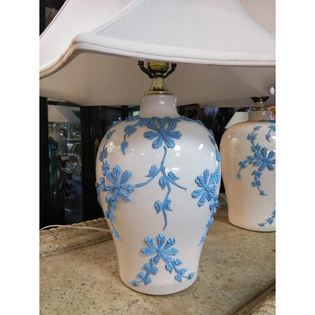 Japanese Vintage Mid Century Japanese Decorative Lamps With Shades - a Pair For Sale - Image 3 of 10