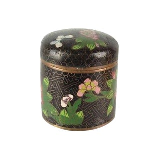 Antique Chinese Black Cloisonné Tea Box