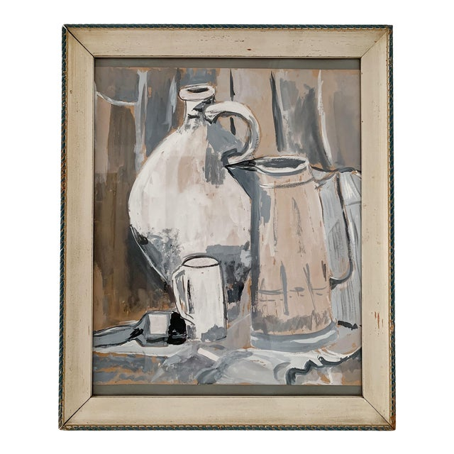 1970s Vintage Still Life Watercolor Painting For Sale