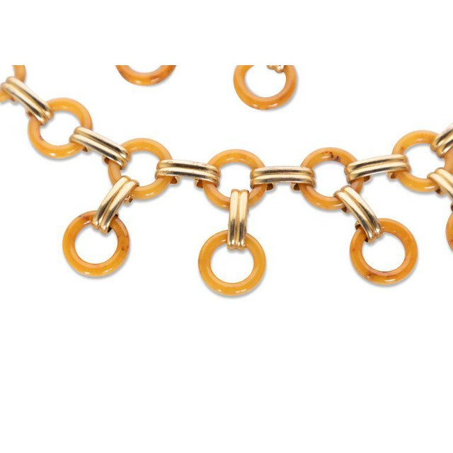Yves Saint Laurent Marbled Yellow Bakelite Gold Link Necklace Belt , 1970s For Sale - Image 9 of 10