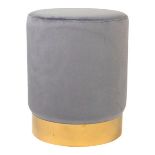 Spur Pale Blue Velvet Stool in Sky Blue For Sale