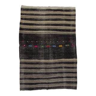 Handwoven Vintage Black & Grey Striped Kilim Rug For Sale