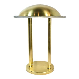 Vintage Mid-Century Modern Brass Saturn Lamp Large With Thick Lucite Rim For Sale
