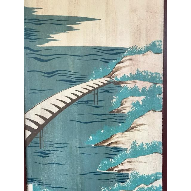 Wood 1960s Asian 3-Panel Screen For Sale - Image 7 of 11