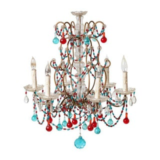 Antique Clear & Colored Crystal 6 Light Chandelier For Sale