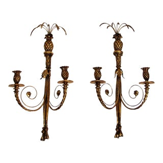 Neoclassic Gold Gilt Pineapple Wall Sconces - a Pair For Sale