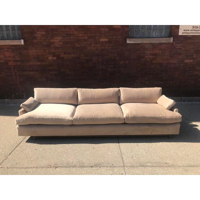 1970s Mid Century Khaki Velvet Sofa For Sale - Image 5 of 11