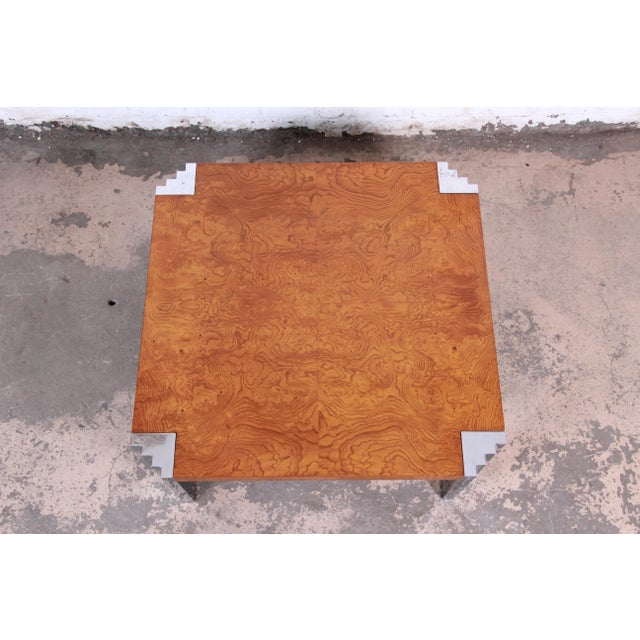 1970s Milo Baughman Style Mid-Century Modern Burl Wood and Chrome Cocktail Table For Sale - Image 5 of 9
