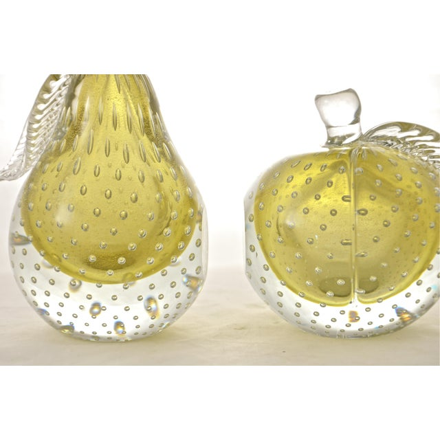 Art Glass Gold Murano Apple & Pear Bookends - A Pair For Sale - Image 7 of 7