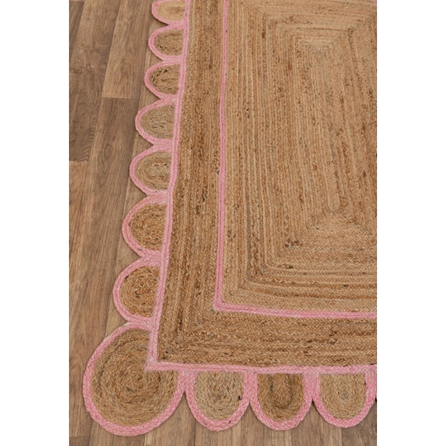 Scallop Jute Light PInk Hand Made Rug - 9'x12' For Sale - Image 4 of 11
