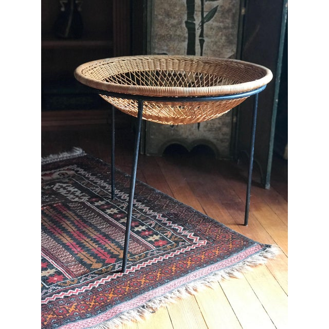 1950s 1950s Mid Century Modern Rattan Wicker and Wrought Iron Catch All Standing Basket For Sale - Image 5 of 7