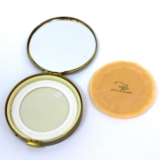 Mid-Century Modern Mid-Century Brass Compact Mirror For Sale - Image 3 of 5