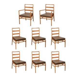 t.h. Robsjohn Gibbings Ladder-Back Chairs in Walnut, Set of Eight, Usa, 1950s For Sale