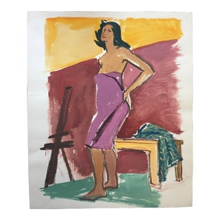 "Mid Century Gouache Painting ""Pink Towel"" For Sale"