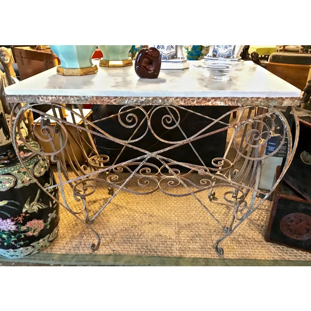 White 19th Century French Iron and Marble Butcher's Table For Sale - Image 8 of 9