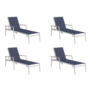 Outdoor Sling Chaise Lounge, Vintage and Dark Blue (Set of 4) For Sale