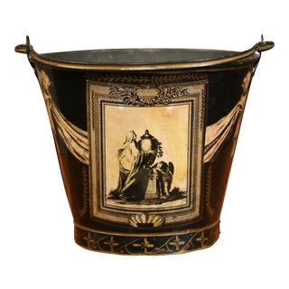 19th Century French Directoire Hand-Painted Black and White Tile Basket Planter For Sale
