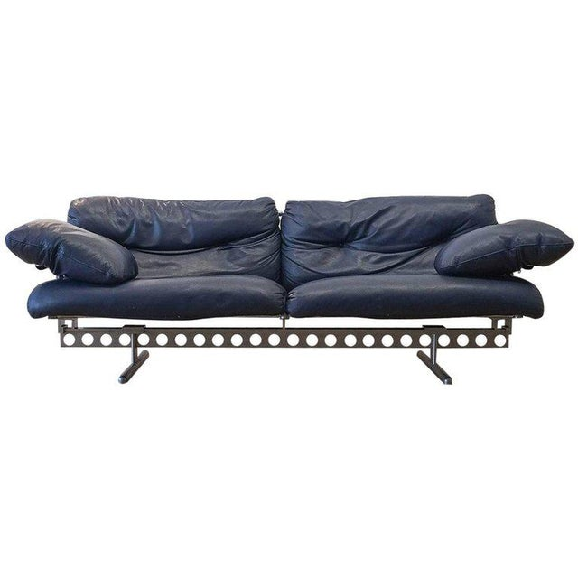Aluminum Pierluigi Cerri Ouverture Leather Sofa for Poltrona Frau, Italy, 1980 For Sale - Image 7 of 7