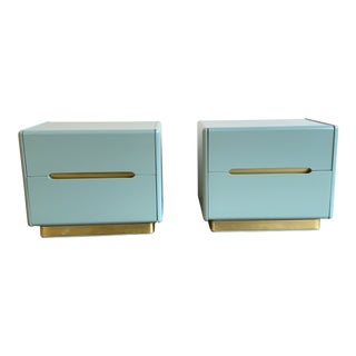1970s Lane Brass and Lacquer Nightstands-a Pair For Sale