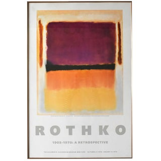 "Vintage 1978 Rothko Retrospective Lithograph Poster Print ""Violet, Black, Orange, Yellow on White and Red"" 1949 For Sale"