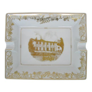 Bernardaud Limoges White and Gold Ashtray For Sale