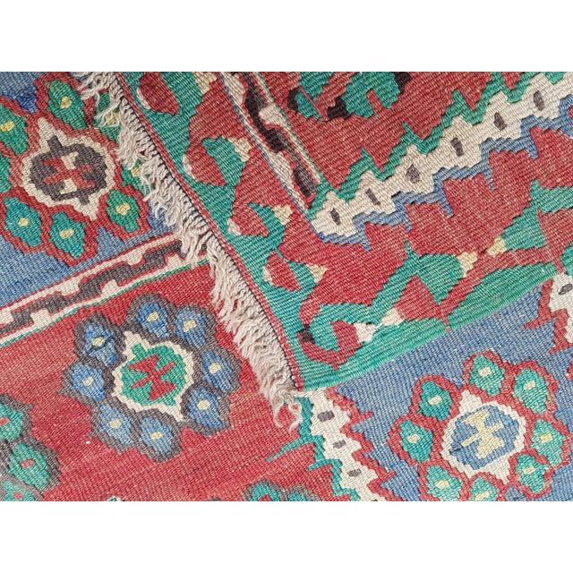 Vintage Blue and Red Turkish Kilim Rug 5'7'' X 7'3'' For Sale - Image 12 of 13