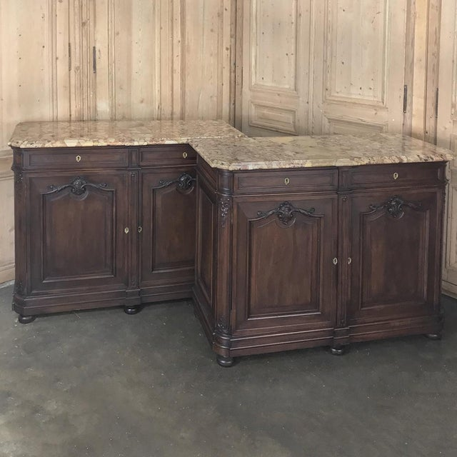 Louis XV Pair 19th Century French Walnut Louis XIV Marble Top Buffets For Sale - Image 3 of 13