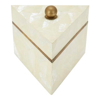 1990s Vintage Postmodern Tessellated Stone and Seashell Lidded Box For Sale