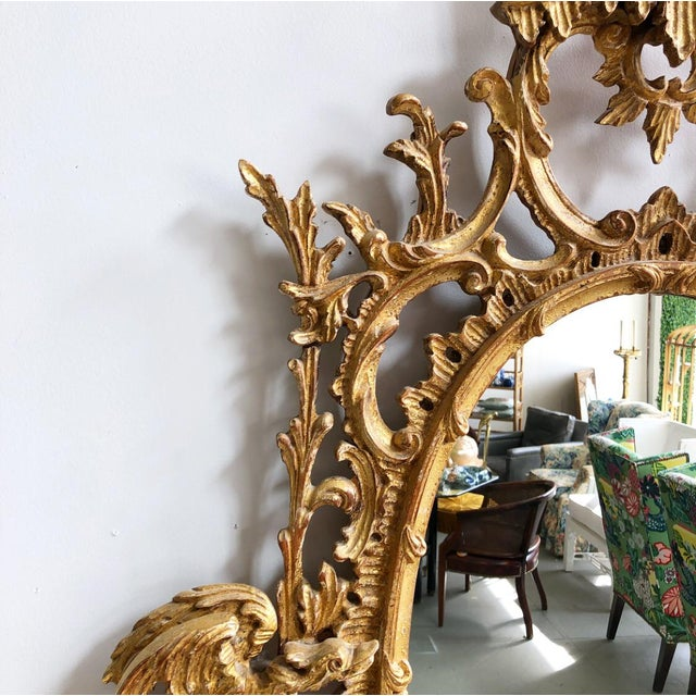 Vintage LaBarge Oval Pagoda Wooden Carved Chinoiserie Gold Gilded Mirror For Sale - Image 9 of 13