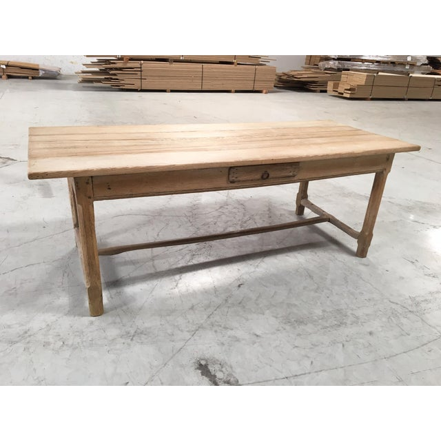 Antique Pale Blonde Beech Farm Table For Sale - Image 9 of 9