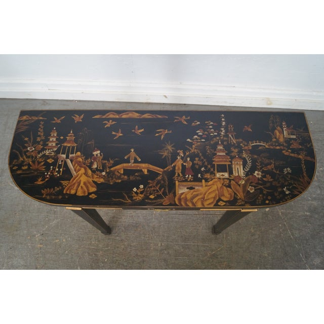 Hand Painted Chinoiserie Demilune Console Table For Sale - Image 5 of 10