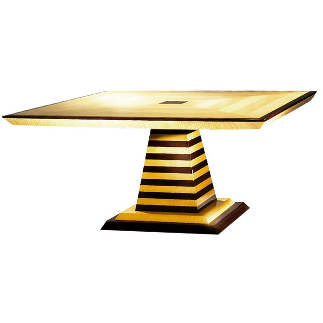 Sycamore 1980s Mid-Century Modern Brueton Industries Sycamore Square Egypt Table Dining Table For Sale - Image 7 of 7