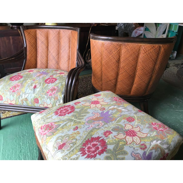 Palecek Rattan and Woven Wicker Pair Chairs and Ottoman For Sale - Image 11 of 13
