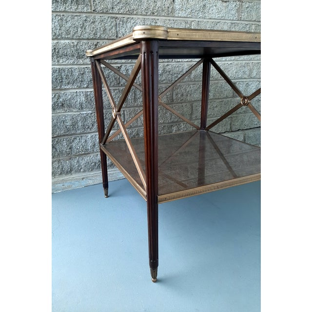 2000 - 2009 Theodore Alexander Eglomise Walnut End Lamp Table With Lower Shelf, Glass and Brass Accents For Sale - Image 5 of 13